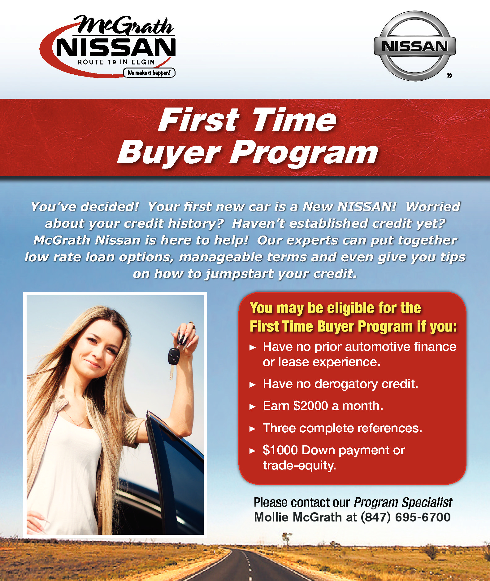 first time buyer program mcgrath nissan car shopping in elgin il. Black Bedroom Furniture Sets. Home Design Ideas