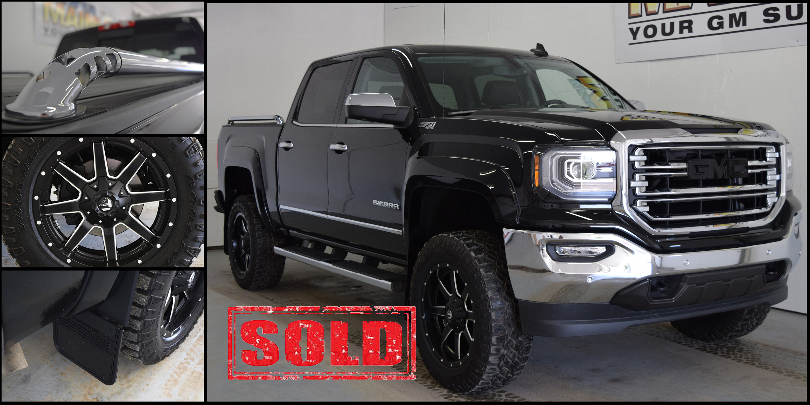 Customized GMC Sierra 1500 with aftermarket accessories, tires, sidebars