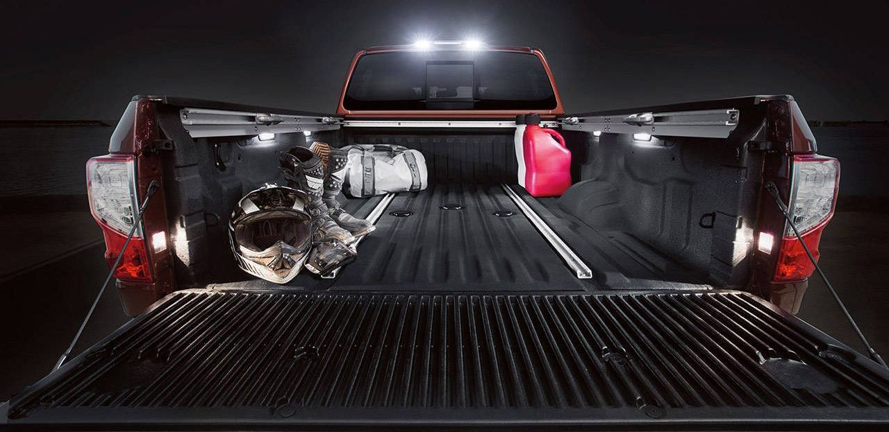 Cargo Bed of the Titan XD with Overhead Lights