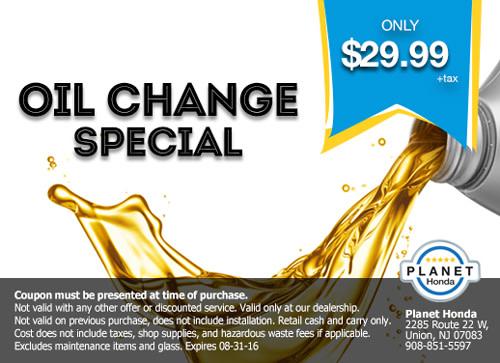 Amazing Planet Honda Oil Change Special